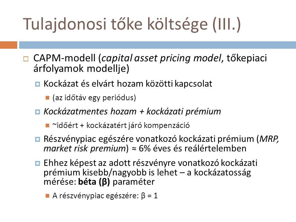 Tulajdonosi tőke költsége (III.)  CAPM-modell (capital asset pricing model, tőkepiaci árfolyamok modellje)  Kockázat és elvárt hozam közötti kapcsol