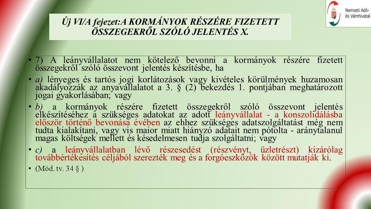 Új VI/A fejezet:A KORMÁNYOK RÉSZÉRE FIZETETT ÖSSZEGEKRŐL SZÓLÓ JELENTÉS X.