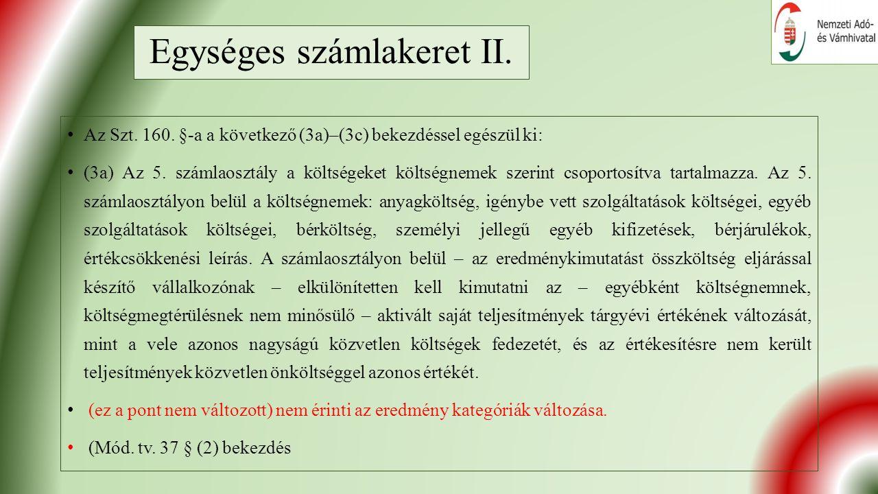 Egységes számlakeret II. Az Szt. 160.