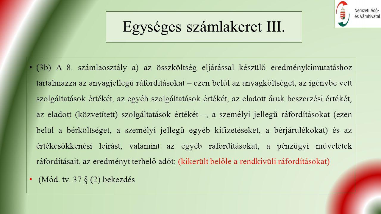Egységes számlakeret III. (3b) A 8.