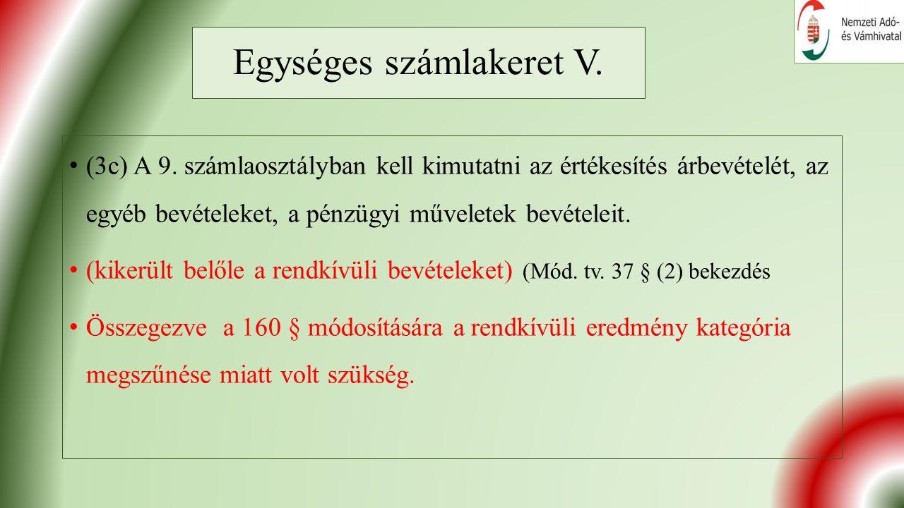 Egységes számlakeret V. (3c) A 9.