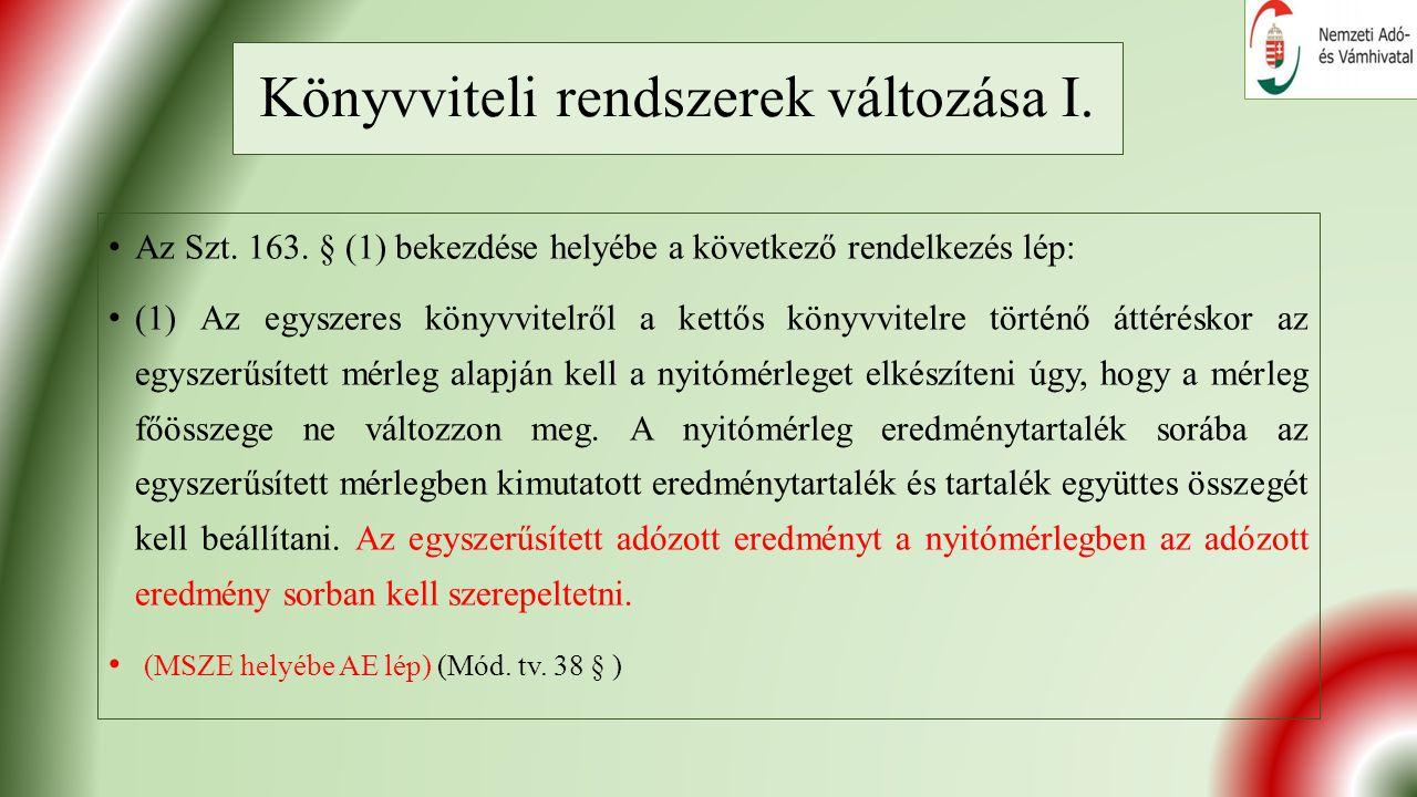 Könyvviteli rendszerek változása I. Az Szt. 163.