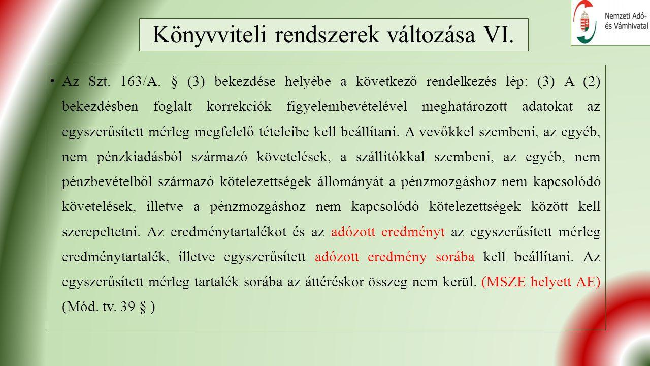 Könyvviteli rendszerek változása VI. Az Szt. 163/A.