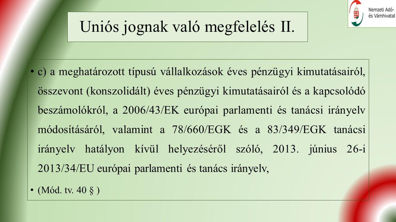 Uniós jognak való megfelelés II.