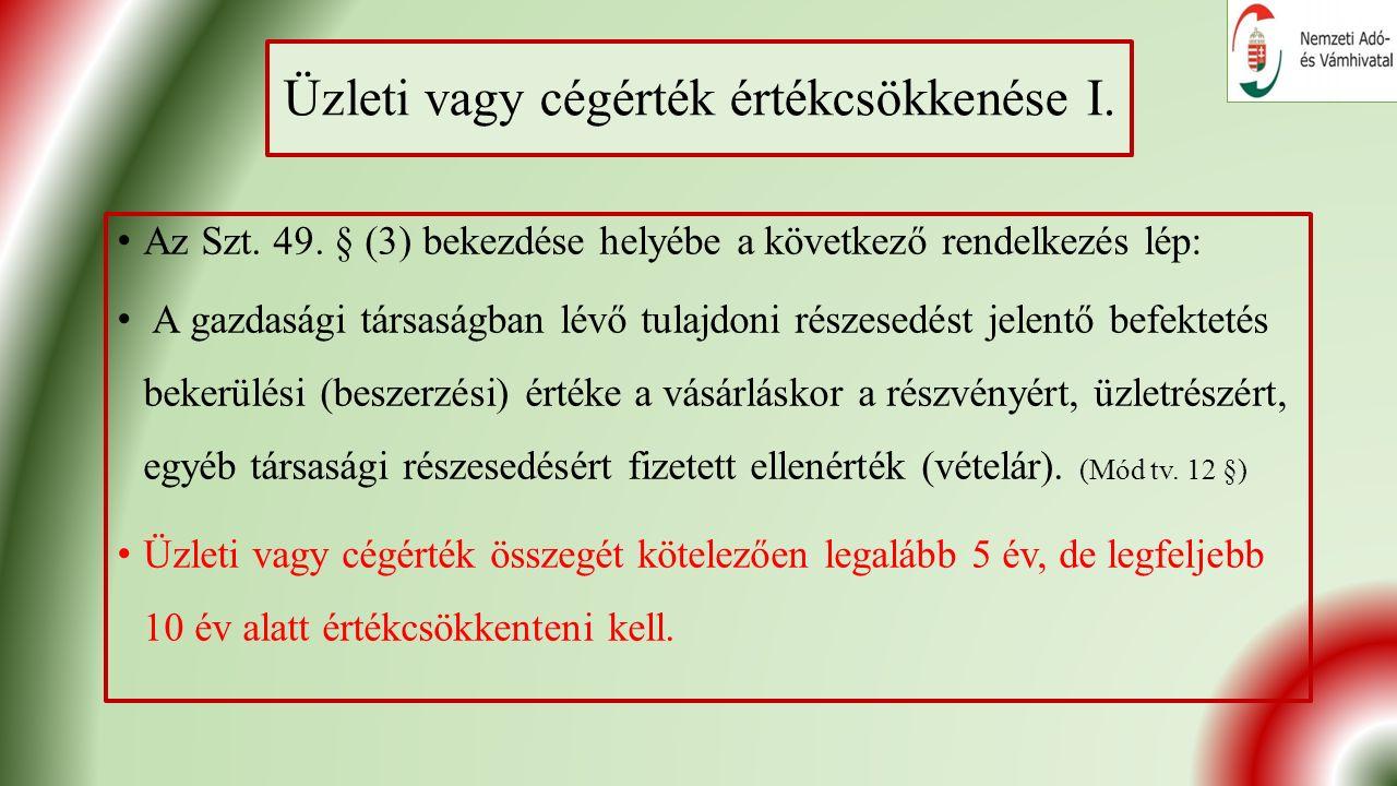 Üzleti vagy cégérték értékcsökkenése I. Az Szt. 49.