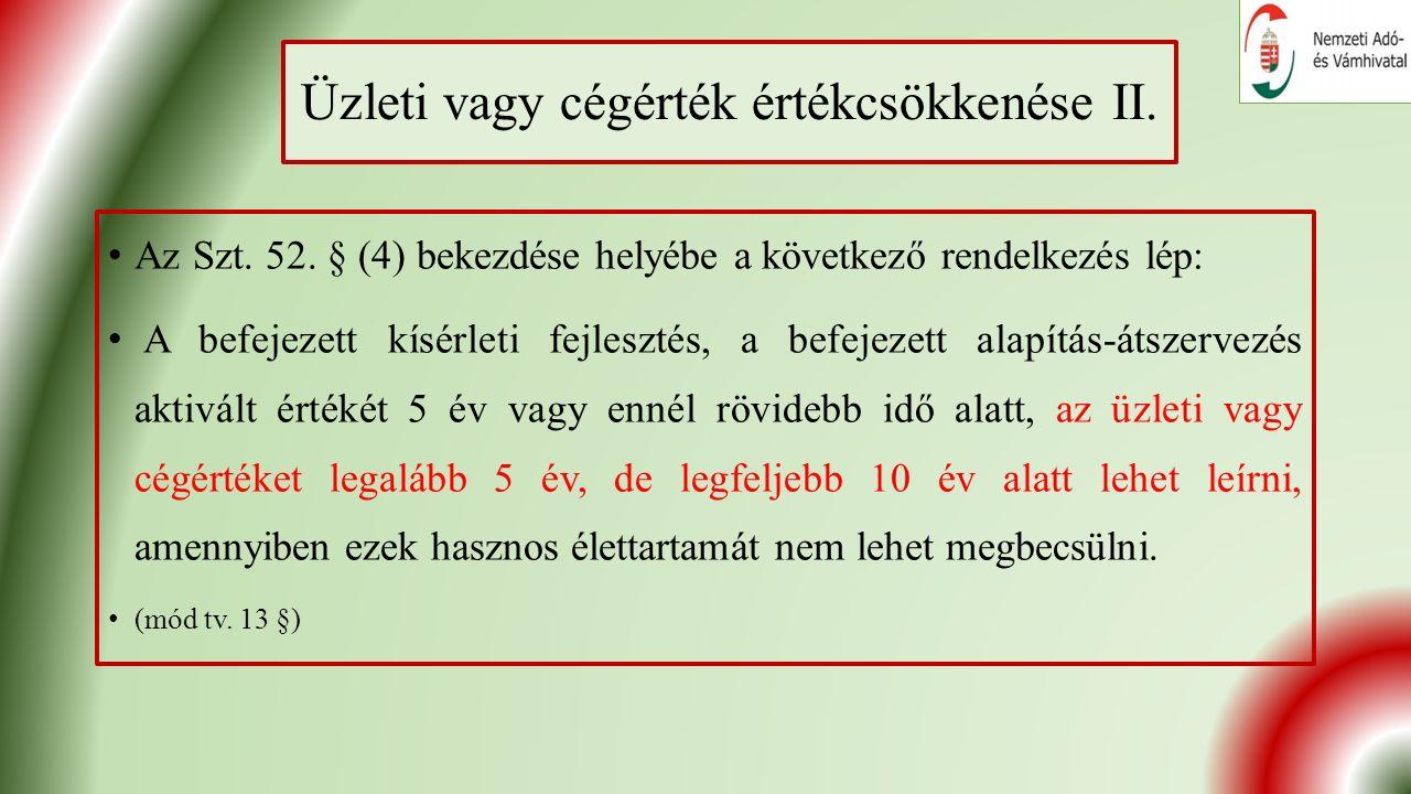 Üzleti vagy cégérték értékcsökkenése II. Az Szt. 52.