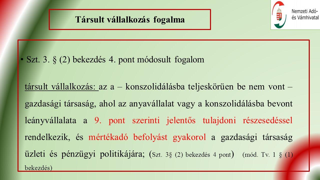 Társult vállalkozás fogalma Szt. 3. § (2) bekezdés 4.