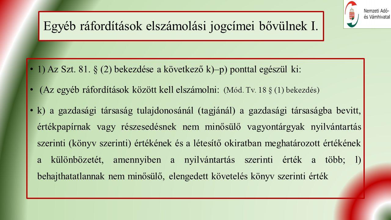 Egyéb ráfordítások elszámolási jogcímei bővülnek I.