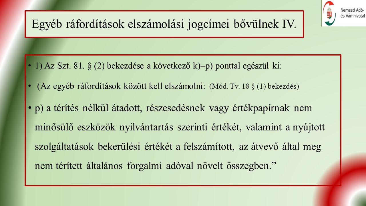 Egyéb ráfordítások elszámolási jogcímei bővülnek IV.