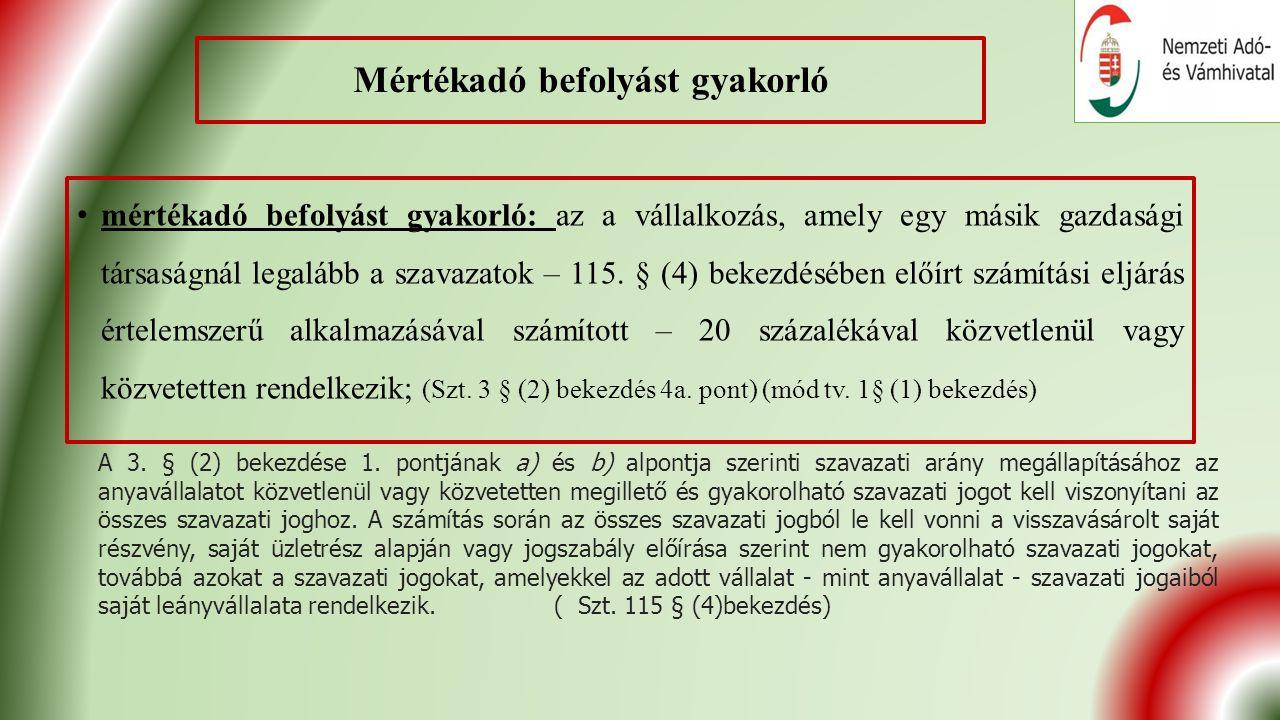 Adózott eredmény Az Szt.102.