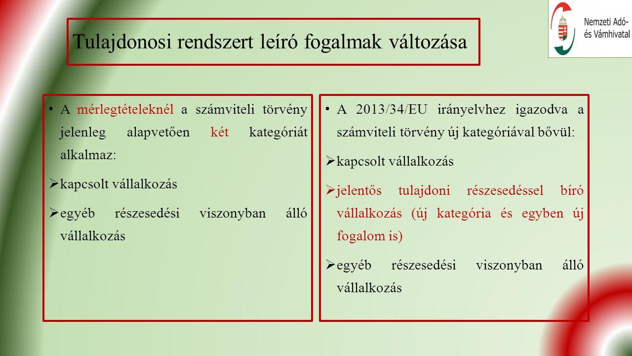 Tulajdonosi rendszert leíró fogalmak változása A mérlegtételeknél a számviteli törvény jelenleg alapvetően két kategóriát alkalmaz:  kapcsolt vállalkozás  egyéb részesedési viszonyban álló vállalkozás A 2013/34/EU irányelvhez igazodva a számviteli törvény új kategóriával bővül:  kapcsolt vállalkozás  jelentős tulajdoni részesedéssel bíró vállalkozás (új kategória és egyben új fogalom is)  egyéb részesedési viszonyban álló vállalkozás