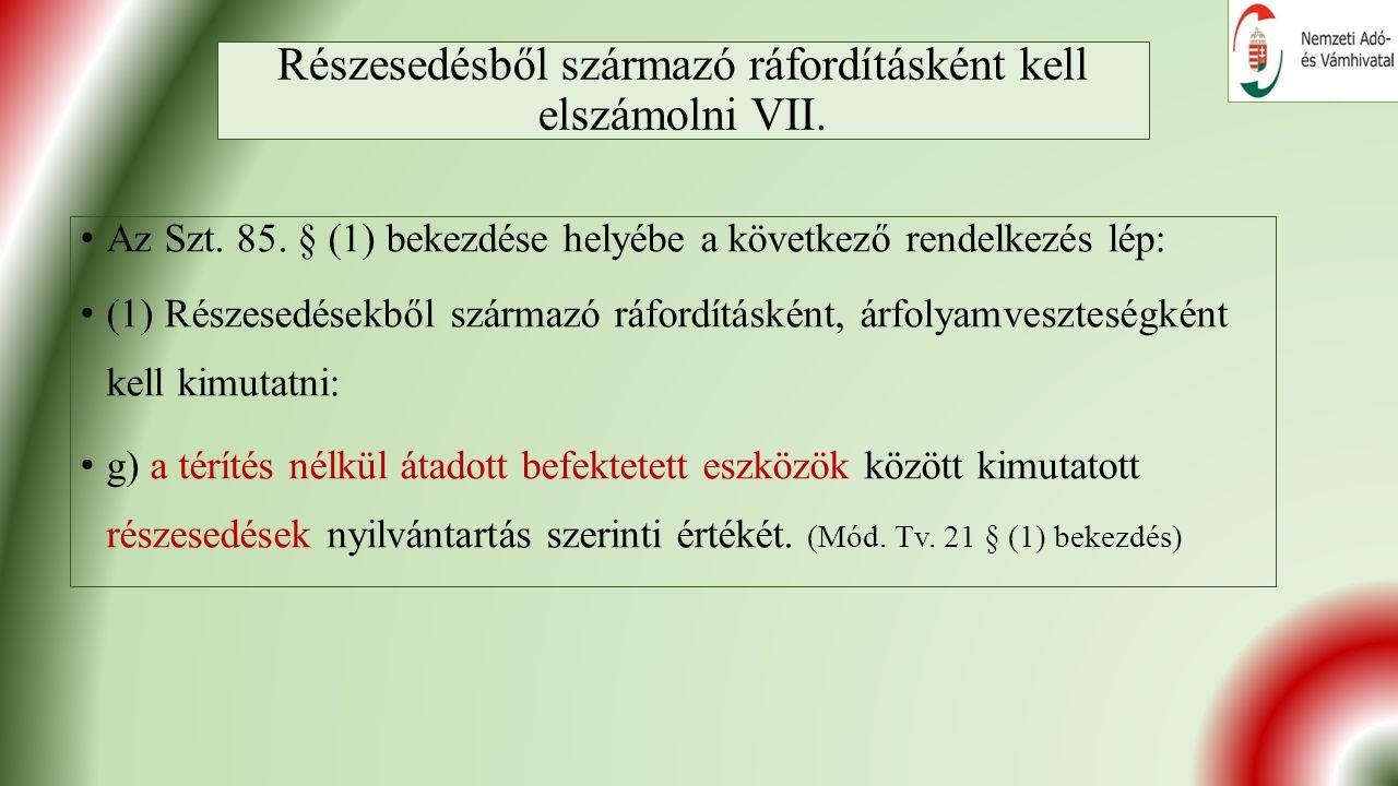 Részesedésből származó ráfordításként kell elszámolni VII.