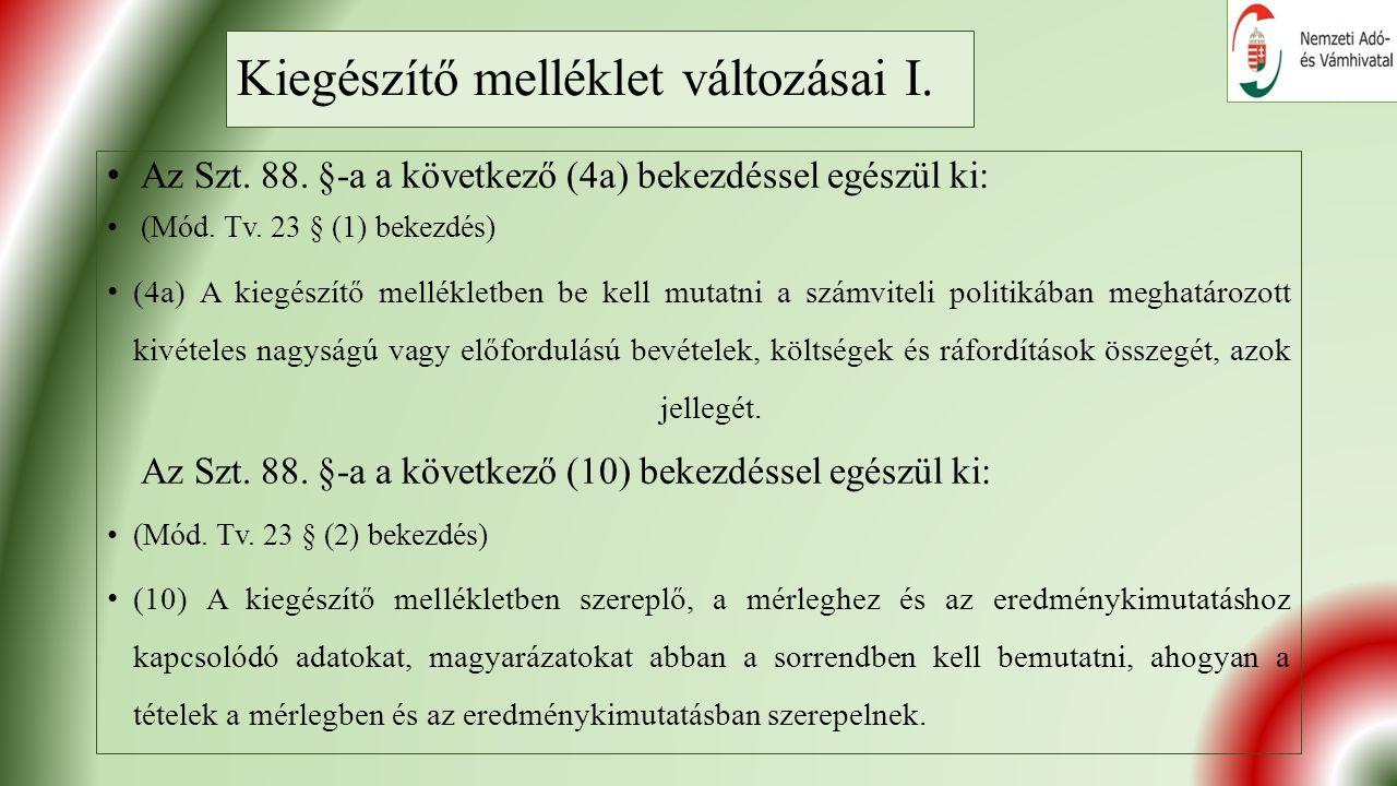 Kiegészítő melléklet változásai I. Az Szt. 88. §-a a következő (4a) bekezdéssel egészül ki: (Mód.