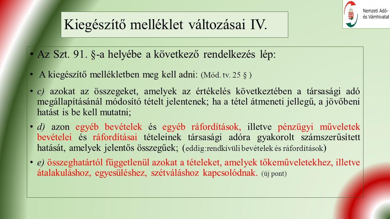 Kiegészítő melléklet változásai IV. Az Szt. 91.