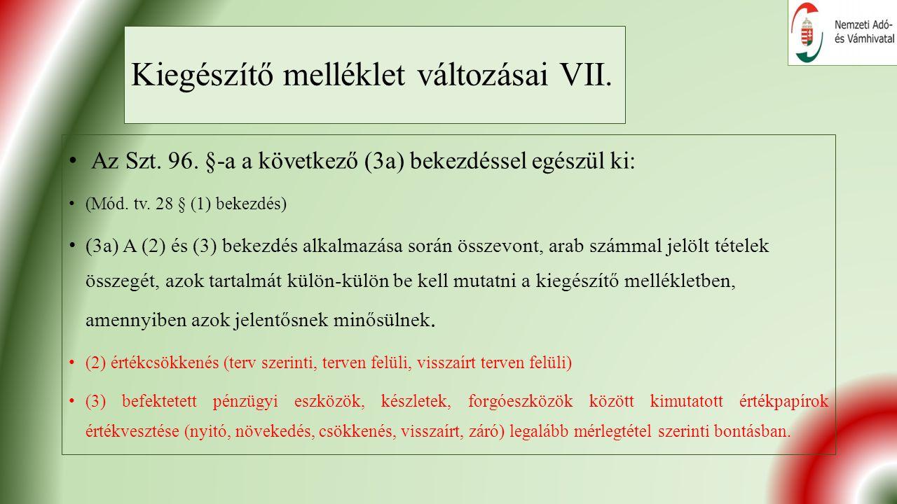 Kiegészítő melléklet változásai VII. Az Szt. 96.