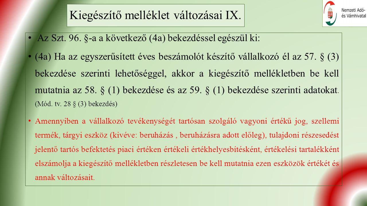 Kiegészítő melléklet változásai IX. Az Szt. 96.
