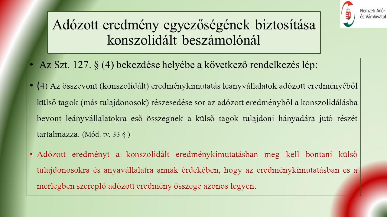 Adózott eredmény egyezőségének biztosítása konszolidált beszámolónál Az Szt.