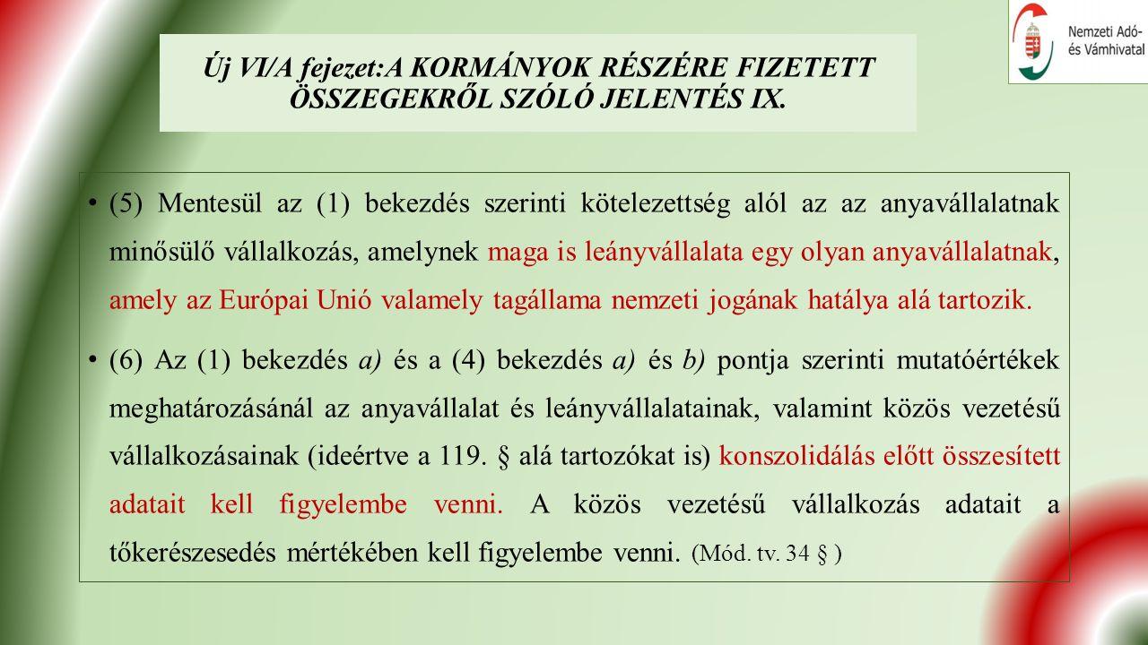 Új VI/A fejezet:A KORMÁNYOK RÉSZÉRE FIZETETT ÖSSZEGEKRŐL SZÓLÓ JELENTÉS IX.