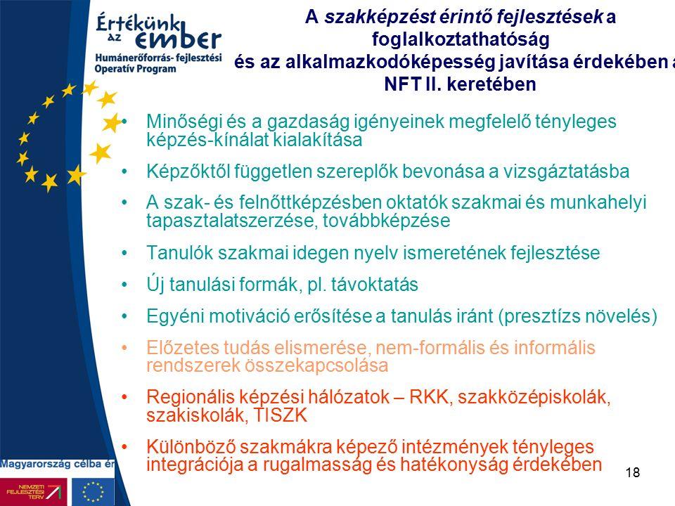 18 A szakképzést érintő fejlesztések a foglalkoztathatóság és az alkalmazkodóképesség javítása érdekében az NFT II.