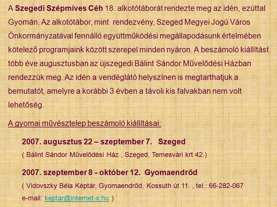 A Szegedi Szépmíves Céh 18. alkotótáborát rendezte meg az idén, ezúttal Gyomán.