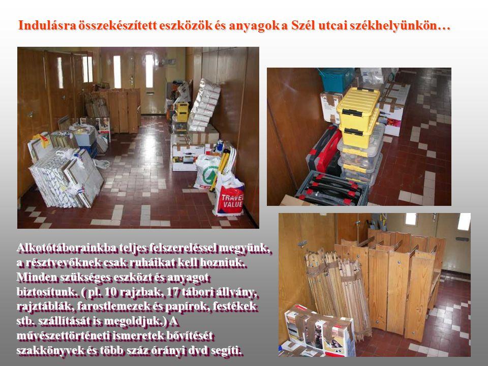 Indulásra összekészített eszközök és anyagok a Szél utcai székhelyünkön… Alkotótáborainkba teljes felszereléssel megyünk, a résztvevőknek csak ruháikat kell hozniuk.