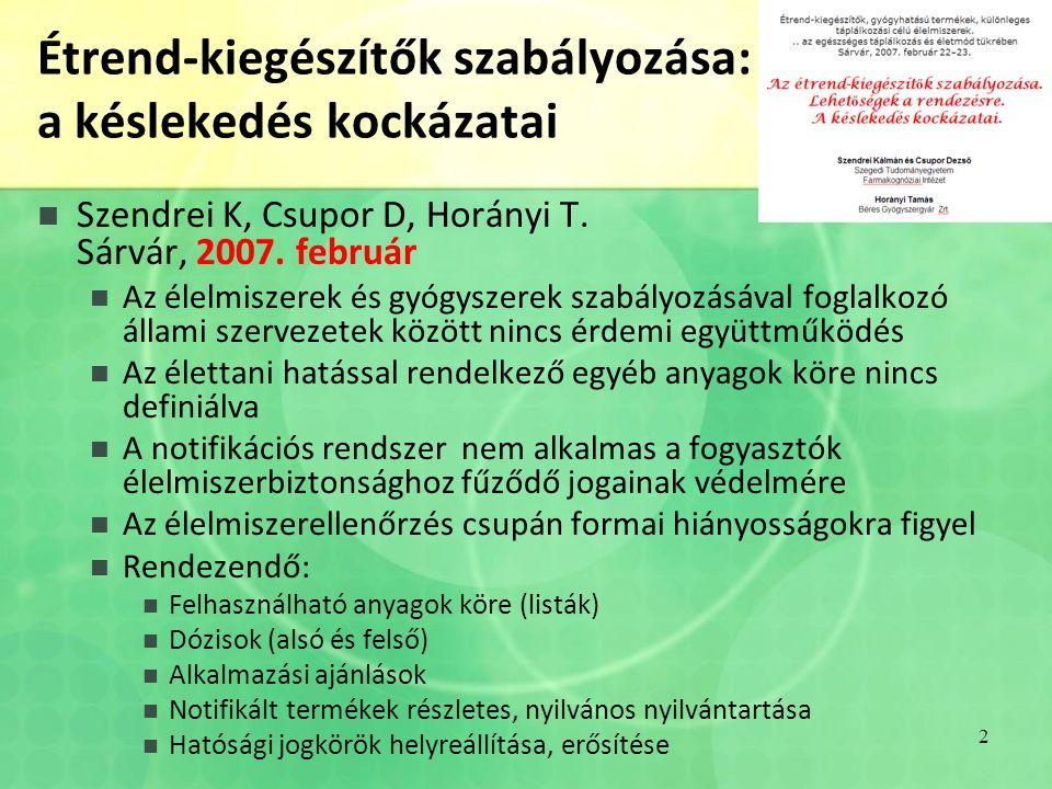 Étrend-kiegészítők szabályozása: a késlekedés kockázatai Szendrei K, Csupor D, Horányi T.