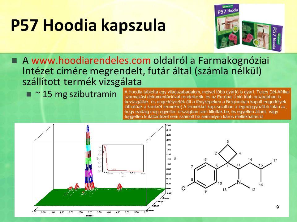 P57 Hoodia kapszula A www.hoodiarendeles.com oldalról a Farmakognóziai Intézet címére megrendelt, futár által (számla nélkül) szállított termék vizsgálata ~ 15 mg szibutramin 9