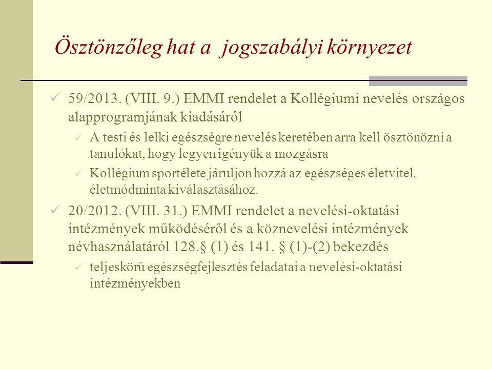 Ösztönzőleg hat a jogszabályi környezet 59/2013. (VIII. 9.) EMMI rendelet a Kollégiumi nevelés országos alapprogramjának kiadásáról A testi és lelki e