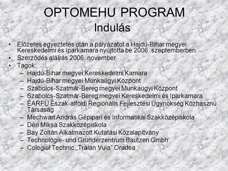 OPTOMEHU PROGRAM Előzetes egyeztetés után a pályázatot a Hajdú-Bihar megyei Kereskedelmi és Iparkamara nyújtotta be 2006. szeptemberben. Szerződés alá