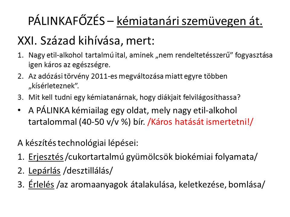 PÁLINKAFŐZÉS – kémiatanári szemüvegen át.XXI.