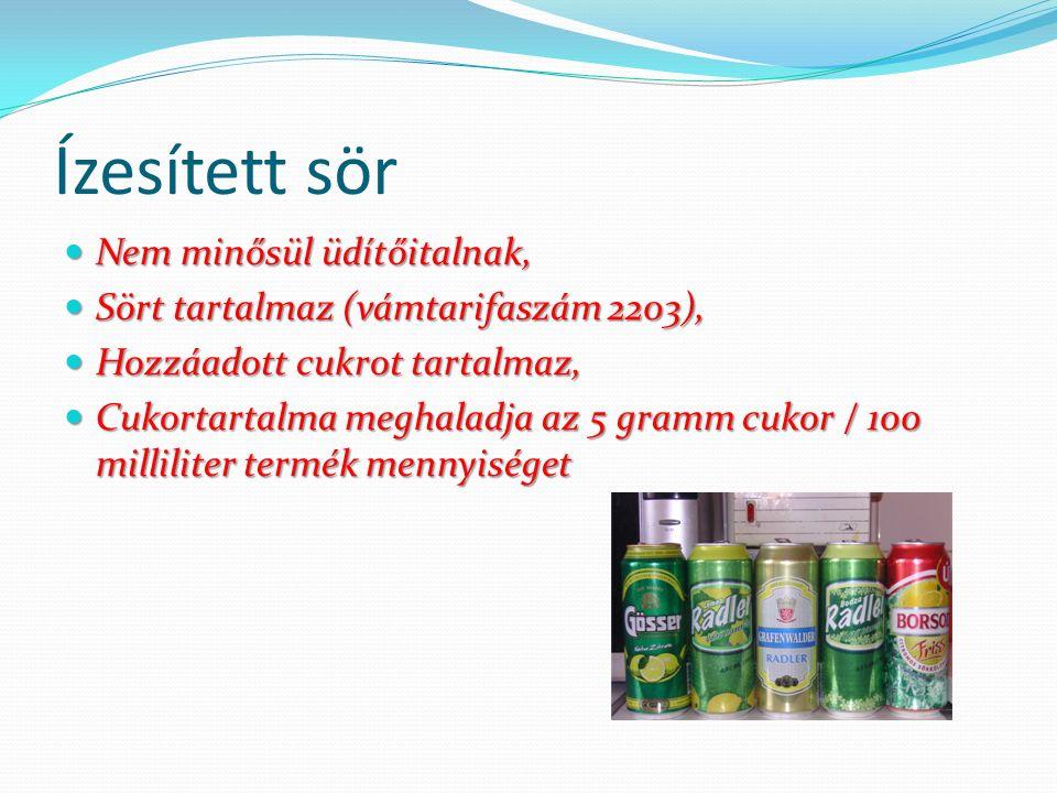 Ízesített sör Nem minősül üdítőitalnak, Nem minősül üdítőitalnak, Sört tartalmaz (vámtarifaszám 2203), Sört tartalmaz (vámtarifaszám 2203), Hozzáadott cukrot tartalmaz, Hozzáadott cukrot tartalmaz, Cukortartalma meghaladja az 5 gramm cukor / 100 milliliter termék mennyiséget Cukortartalma meghaladja az 5 gramm cukor / 100 milliliter termék mennyiséget