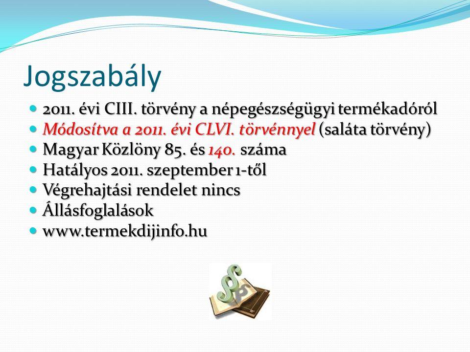 Jogszabály 2011. évi CIII. törvény a népegészségügyi termékadóról 2011.