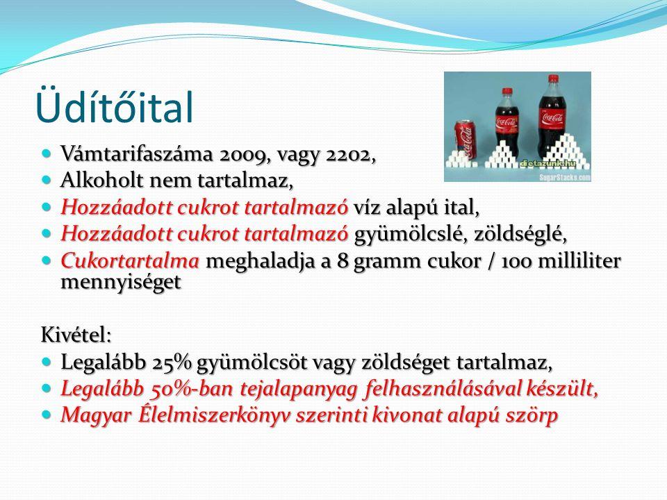 Üdítőital Vámtarifaszáma 2009, vagy 2202, Vámtarifaszáma 2009, vagy 2202, Alkoholt nem tartalmaz, Alkoholt nem tartalmaz, Hozzáadott cukrot tartalmazó