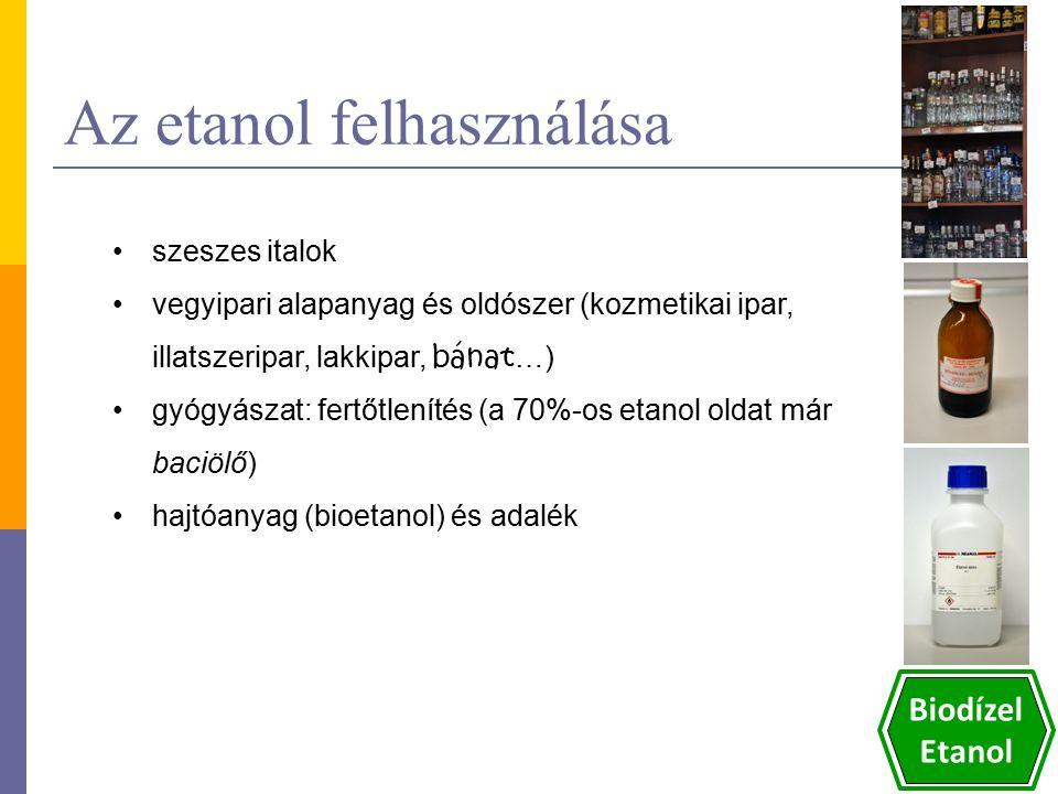 Az etanol felhasználása szeszes italok vegyipari alapanyag és oldószer (kozmetikai ipar, illatszeripar, lakkipar, bánat …) gyógyászat: fertőtlenítés (a 70%-os etanol oldat már baciölő) hajtóanyag (bioetanol) és adalék Biodízel Etanol