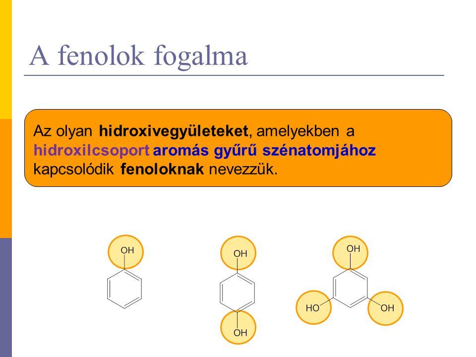 A fenolok fogalma Az olyan hidroxivegyületeket, amelyekben a hidroxilcsoport aromás gyűrű szénatomjához kapcsolódik fenoloknak nevezzük.