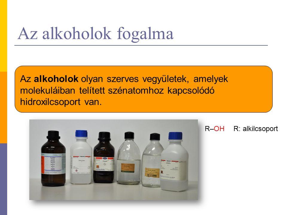 Az alkoholok fogalma Az alkoholok olyan szerves vegyületek, amelyek molekuláiban telített szénatomhoz kapcsolódó hidroxilcsoport van. R–OH R: alkilcso