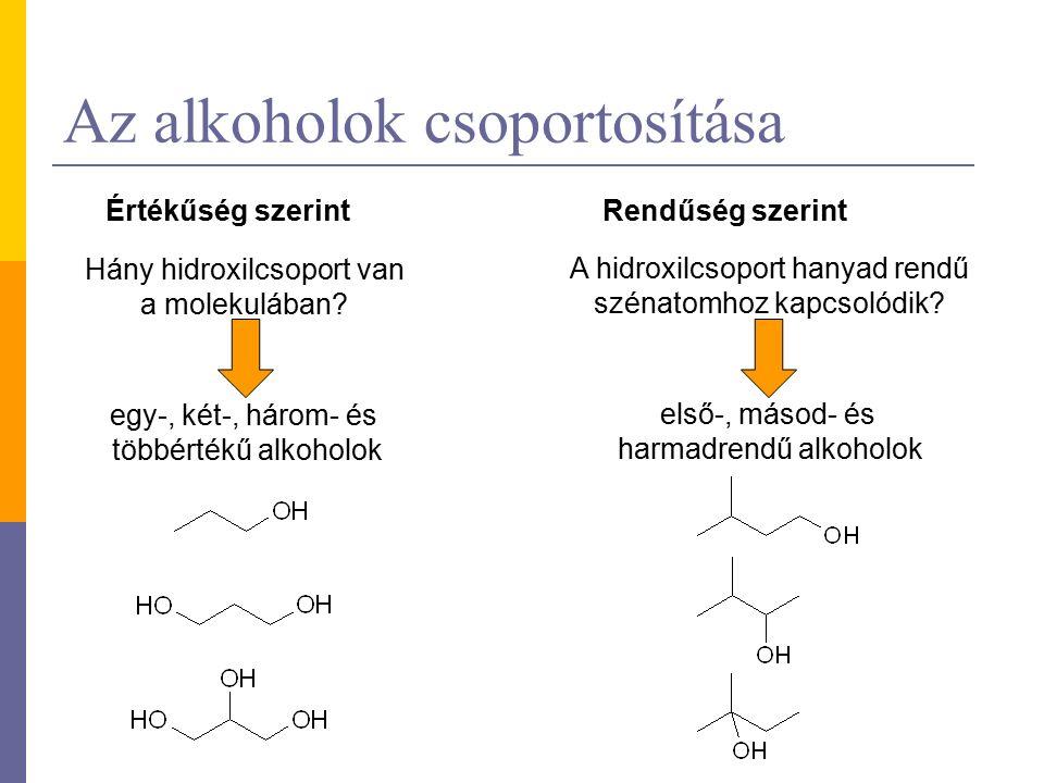 Az alkoholok csoportosítása Értékűség szerint Rendűség szerint Hány hidroxilcsoport van a molekulában.