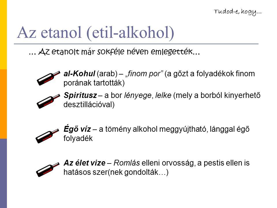 """Az etanol (etil-alkohol) al-Kohul (arab) – """"finom por (a gőzt a folyadékok finom porának tartották) Spiritusz – a bor lényege, lelke (mely a borból kinyerhető desztillációval) Égő víz – a tömény alkohol meggyújtható, lánggal égő folyadék Az élet vize – Romlás elleni orvosság, a pestis ellen is hatásos szer(nek gondolták…) … Az etanolt már sokféle néven emlegették… Tudod-e, hogy…"""