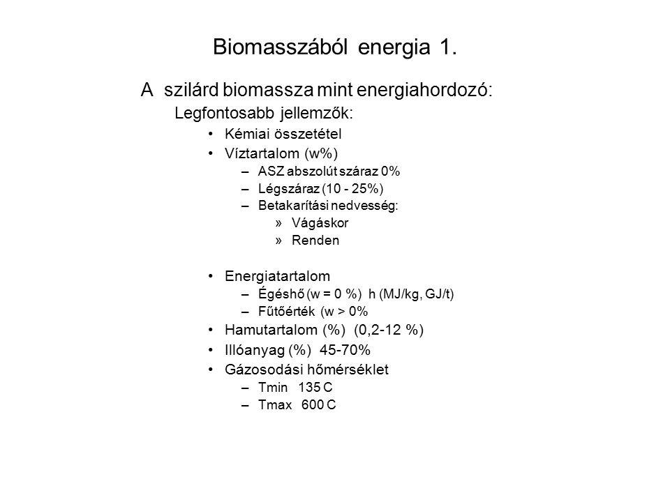Biomasszából energia 1. A szilárd biomassza mint energiahordozó: Legfontosabb jellemzők: Kémiai összetétel Víztartalom (w%) –ASZ abszolút száraz 0% –L