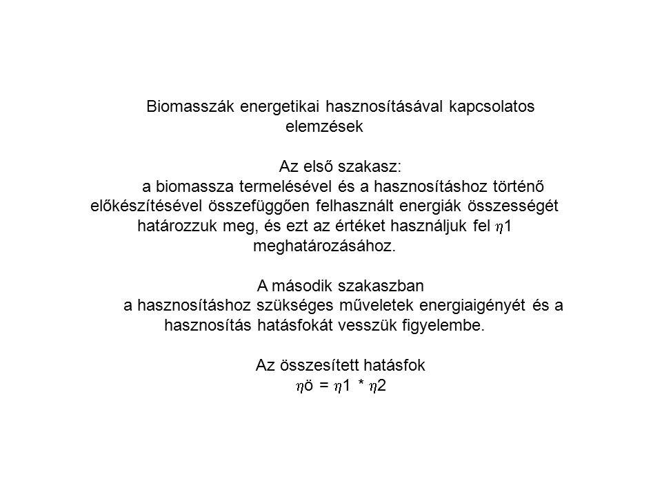Biomasszák energetikai hasznosításával kapcsolatos elemzések Az első szakasz: a biomassza termelésével és a hasznosításhoz történő előkészítésével öss