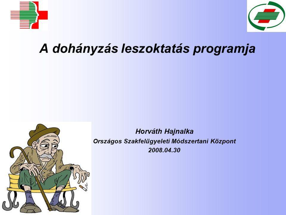 A dohányzás leszoktatás programja Horváth Hajnalka Országos Szakfelügyeleti Módszertani Központ 2008.04.30