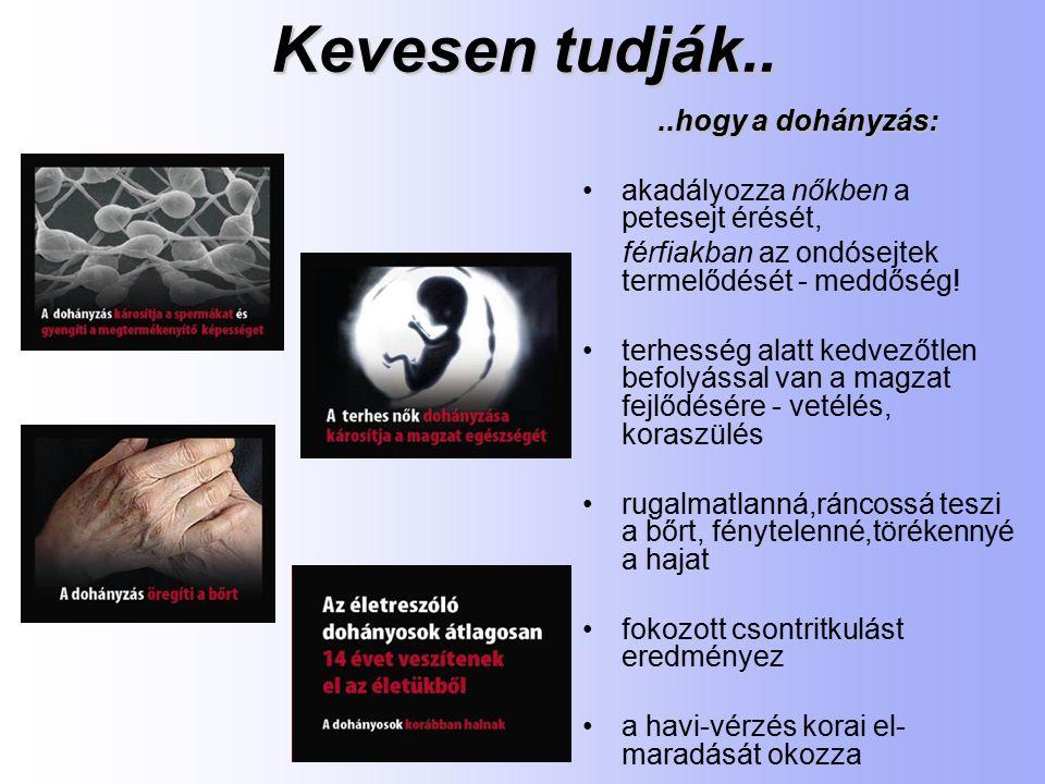 Kevesen tudják....hogy a dohányzás: akadályozza nőkben a petesejt érését, férfiakban az ondósejtek termelődését - meddőség.