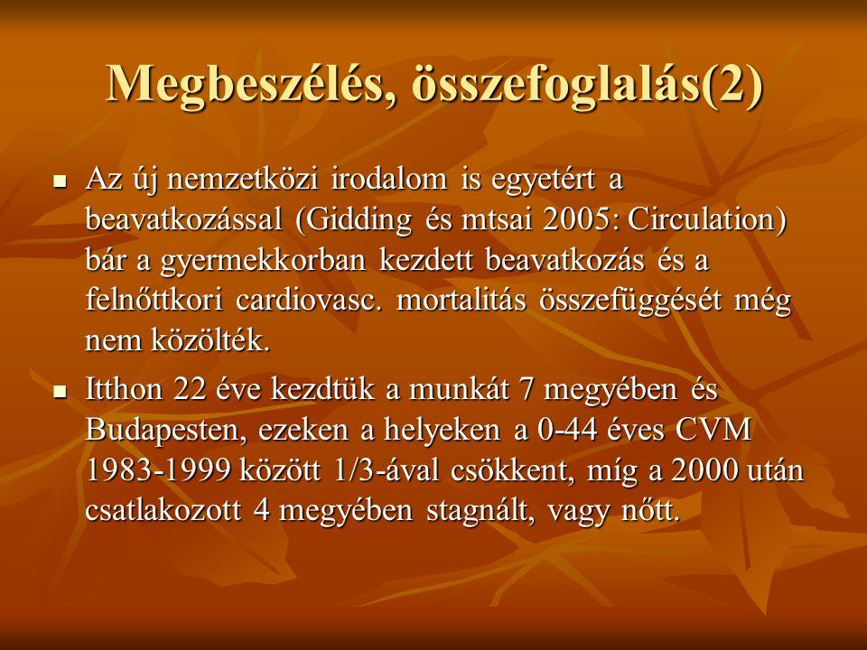 Megbeszélés, összefoglalás(2) Az új nemzetközi irodalom is egyetért a beavatkozással (Gidding és mtsai 2005: Circulation) bár a gyermekkorban kezdett beavatkozás és a felnőttkori cardiovasc.