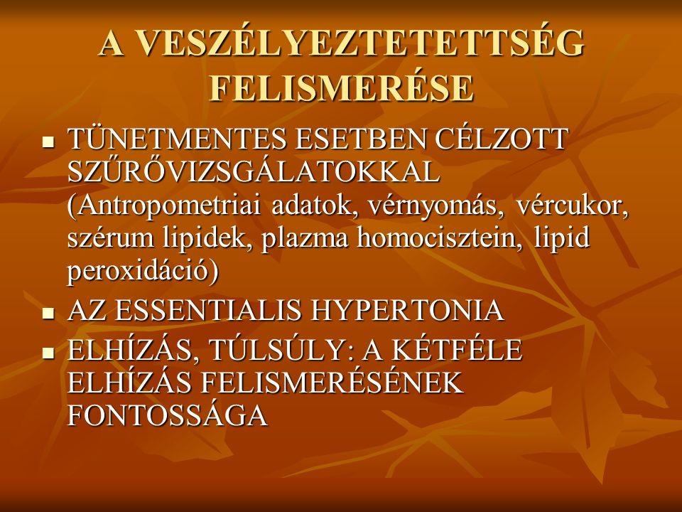 A VESZÉLYEZTETETTSÉG FELISMERÉSE TÜNETMENTES ESETBEN CÉLZOTT SZŰRŐVIZSGÁLATOKKAL (Antropometriai adatok, vérnyomás, vércukor, szérum lipidek, plazma h