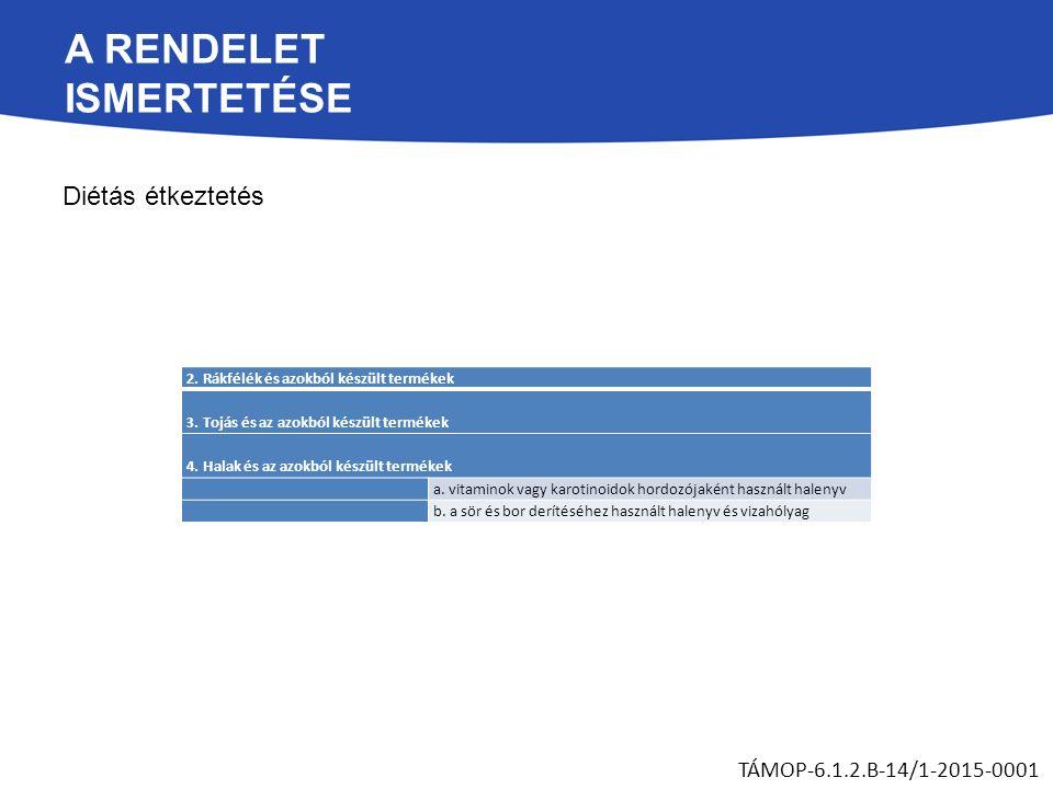 A RENDELET ISMERTETÉSE Diétás étkeztetés TÁMOP-6.1.2.B-14/1-2015-0001 2. Rákfélék és azokból készült termékek 3. Tojás és az azokból készült termékek
