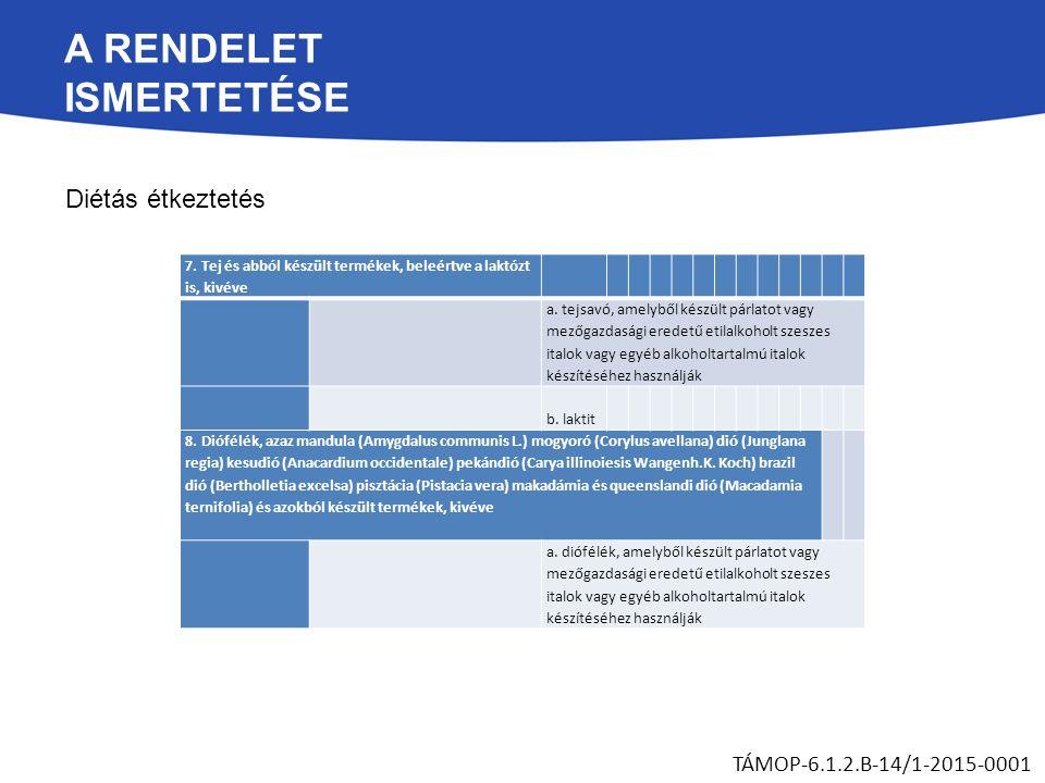A RENDELET ISMERTETÉSE Diétás étkeztetés TÁMOP-6.1.2.B-14/1-2015-0001 7.