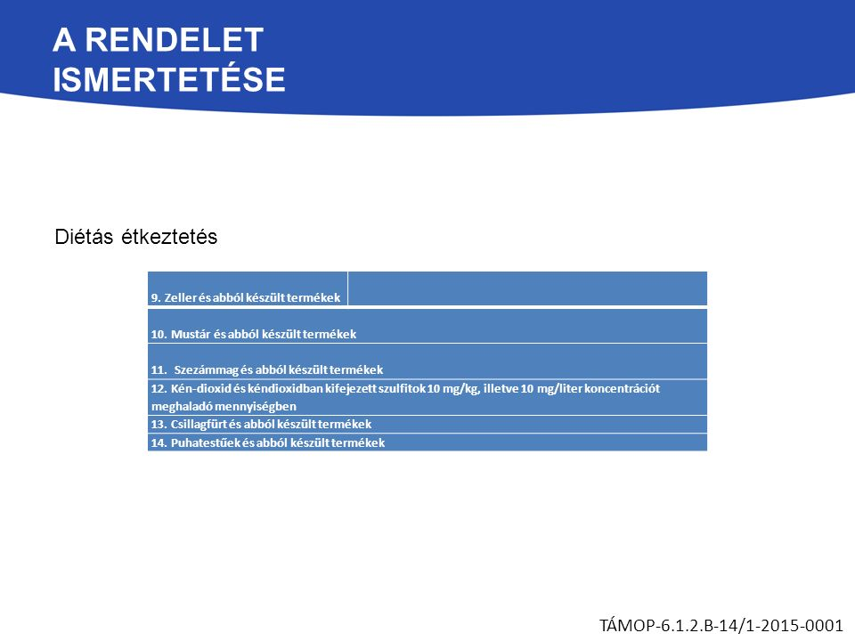 A RENDELET ISMERTETÉSE Diétás étkeztetés TÁMOP-6.1.2.B-14/1-2015-0001 9. Zeller és abból készült termékek 10. Mustár és abból készült termékek 11. Sze