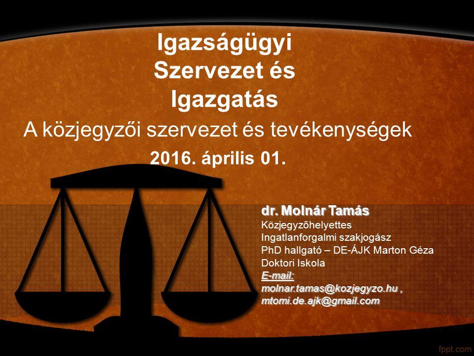Igazságügyi Szervezet és Igazgatás dr.