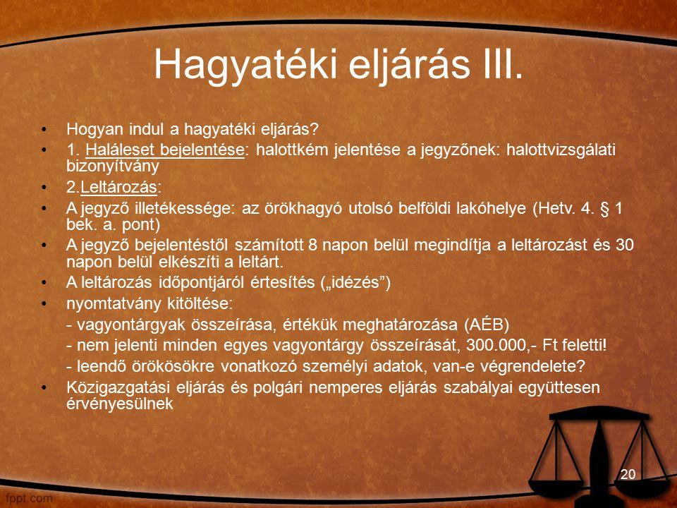 Hagyatéki eljárás III. Hogyan indul a hagyatéki eljárás.
