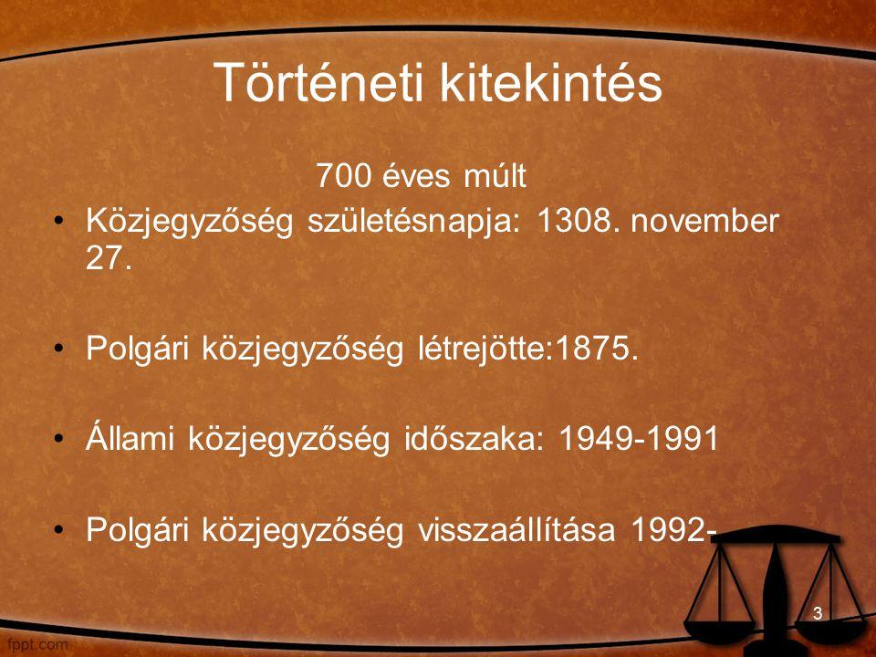 Történeti kitekintés 700 éves múlt Közjegyzőség születésnapja: 1308.